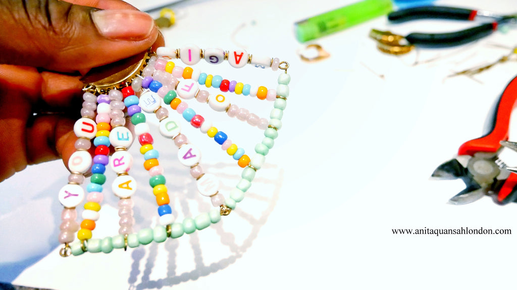"How To Make Your Own Beaded Alphabet Earrings Affirmation Earrings ""You Are Made Of Magic Earrings"""