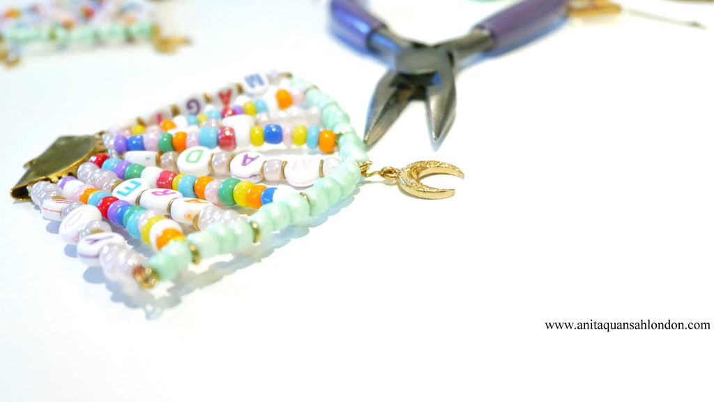 How To Make A Beaded Alphabet earrings Affirmations earrings