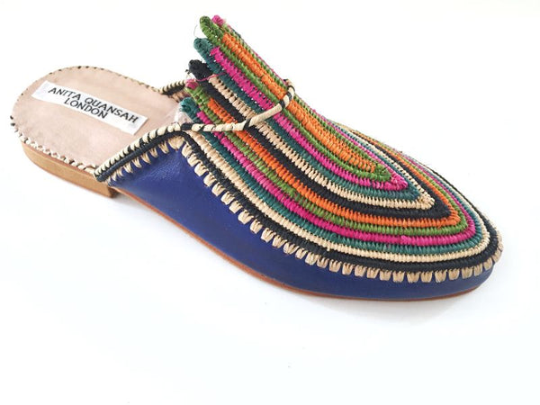 Akila Blue Leather with Multi-Coloured Raffia Slippers