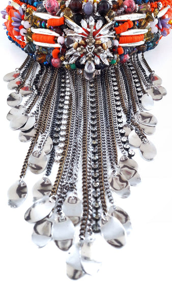 Armelle Beaded Embellished Chain Fringe Necklace
