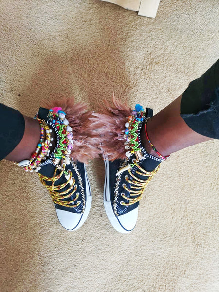 Hanya Beaded Embellished Chuck Taylor All Star High Top Converse