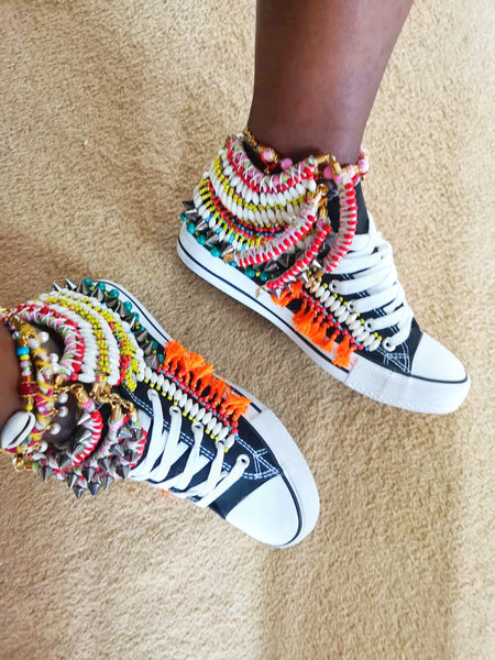 Keyna Beaded Embellished Chuck Taylor All Star High Top Converse