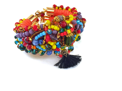 Lawan Embellished Beaded Multi-Stone Bracelet Anita Quansah London