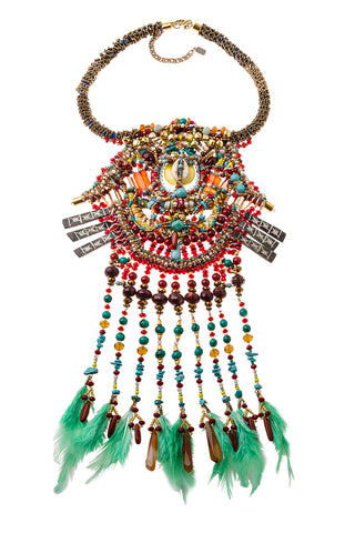 Marley Multi-Stone Beaded Statement Tassel Necklace
