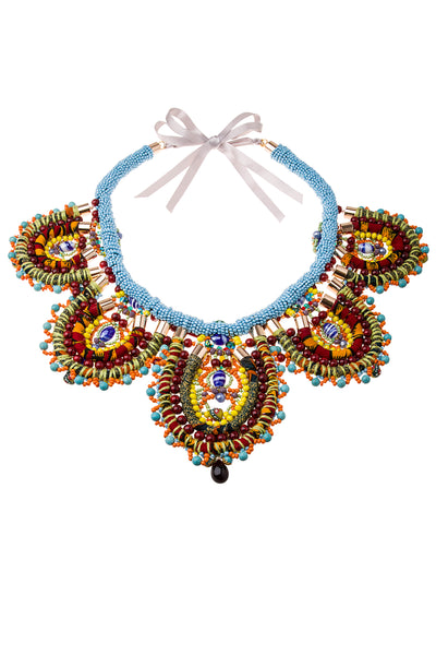 Leire Embellished Beaded Gemstone Necklace