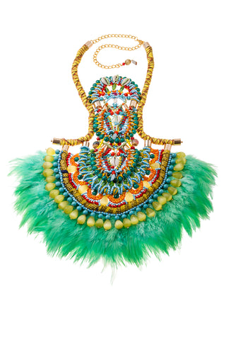 Kandiya Beaded Embellished Feather Necklace