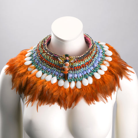 Brea Multi-Stone Statement Feather Neck piece