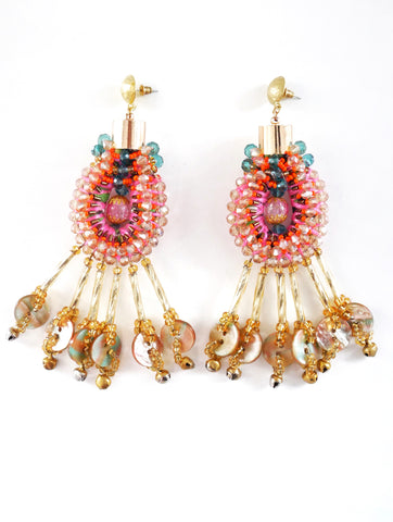 Arista Beaded-Embellished Button Drop Earrings