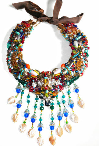 Amani Colourful Embellished Multi-Gemstone Mother of Pearl Tassel Drop Statement Necklace