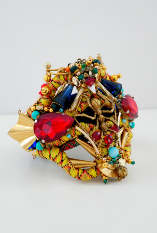 Amoy Multi-Beaded, Swarovski Crystal And Brass Plated Ant Wide Cuff Bracelet