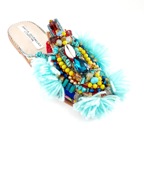 Anali Embellished Raffia And Leather Tassel Slippers