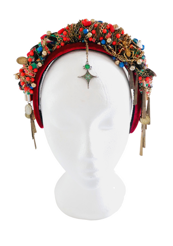 Anoki Beaded-Embellished Chain Velvet Headband