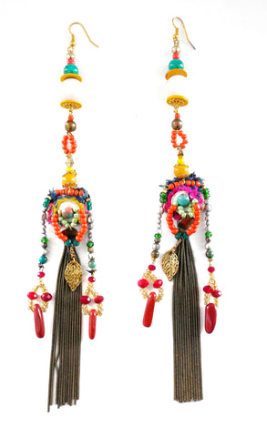 Anouk Multi-Embellished Tassel Earrings