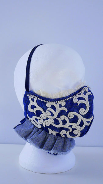 Appliqued Ruffled Lace and Denim Washable Face Mask