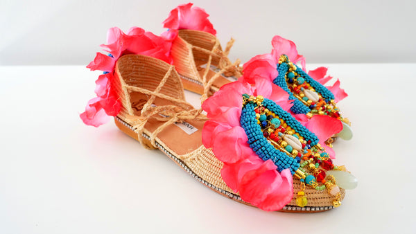 Asha Beaded and Rose Petals Embellished Raffia Ankle Ties Shoes