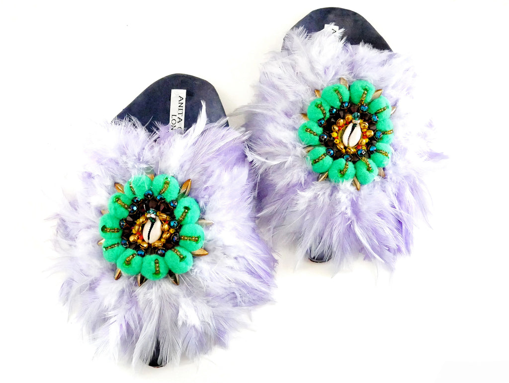 Baila Embellished Feather-Trim leather And Pom-Pom Mules