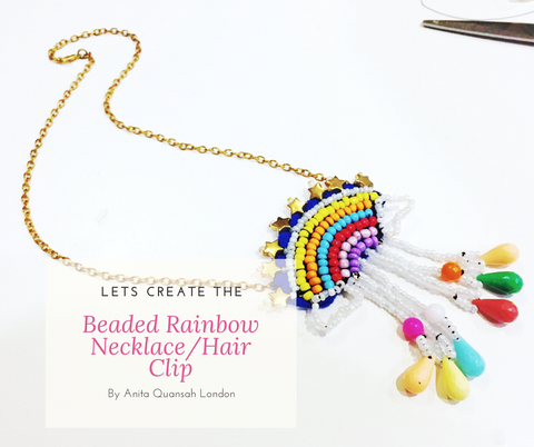 Beaded Rainbow Necklace and Hair Clip DIY Kit By Anita Quansah London