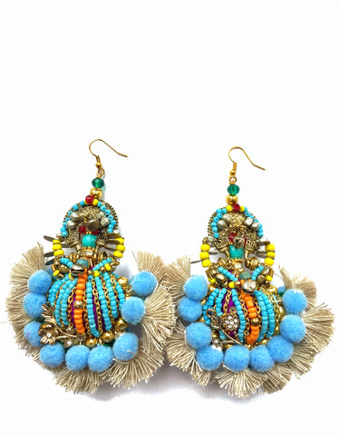 Carmella Beaded Tassel And Pom-Pom Earrings