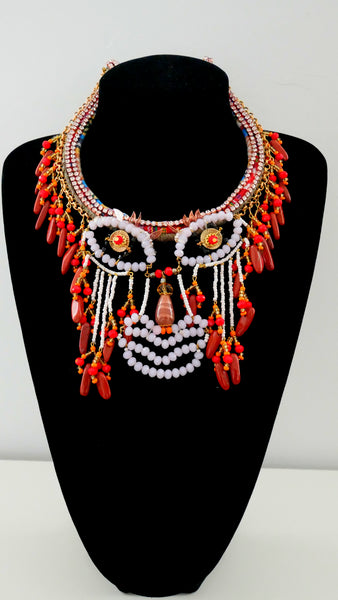 Celai Crystal-Embellished Beaded, Red Jasper Hollow Face Abstract Necklace