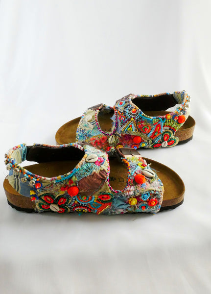 Custom Made Embroidered, Applique Multi-Beaded and Shell-Embellished Birkenstock Unisex Milano Regular Fit Double Strap Sandals