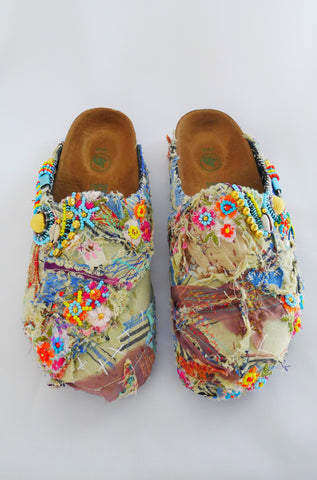 Custom Made Multi-Beaded-Embellished Patchwork Birkenstock Amsterdam Narrow Fit Clogs