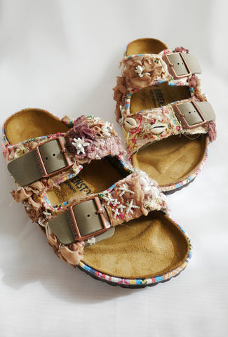 Custom Made Multi-Beaded Embellished Upcycled Flower Birkenstock Arizona Narrow Fit Double Strap Sandals