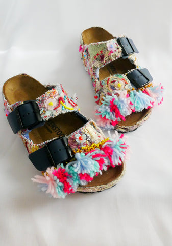Custom Made Upcycled Embroidered Applique, Multi-Beaded Embellished Tassel Birkenstock Arizona Narrow Fit Double Strap Sandals