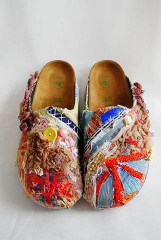 Custom Made Union Jack Embroidered, Applique, Multi-Beaded-Embellished, Birkenstock Amsterdam Narrow Fit Clogs
