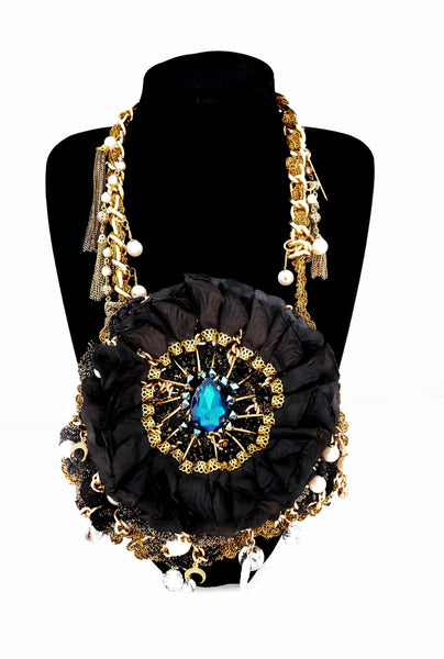 Cyrene Embellished Silk Rose Petal Pendant Bib Necklace