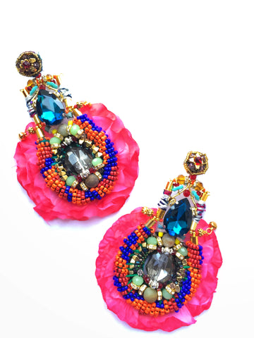 Carola Beaded Statement Rose Petal Earrings