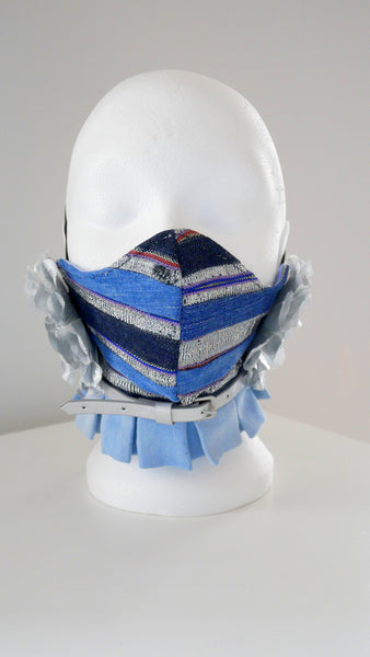 Reusable, Washable Denim and Vintage Aso-Oke Belted Rosette Face Mask
