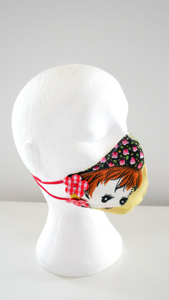 DOLLY AND BUNNY TEXTILE FACE MASK WITH CHEQUED DAISY FLOWERS 1