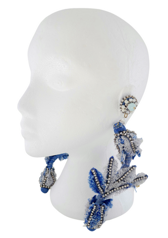 Deka Rhinestone And Denim Embellished Rose Bud Drop Earrings