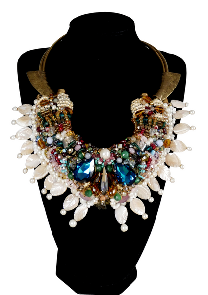 Ekene Multi-Beaded Swarovski Crystal And Gemstone- Embellished Drop Necklace with Mother of Pearls-Anita Quansah London