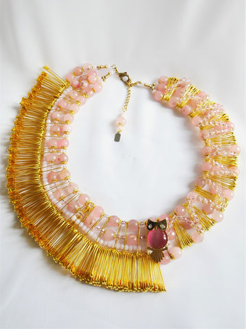 Elle Rose Quartz Gemstone-Embellished Safety Pin Collar Necklace