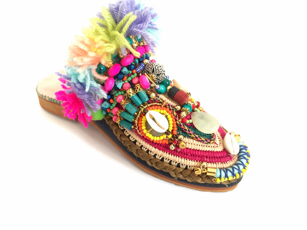 Evelina Beaded Embellished Tassel Raffia And Leather Slippers