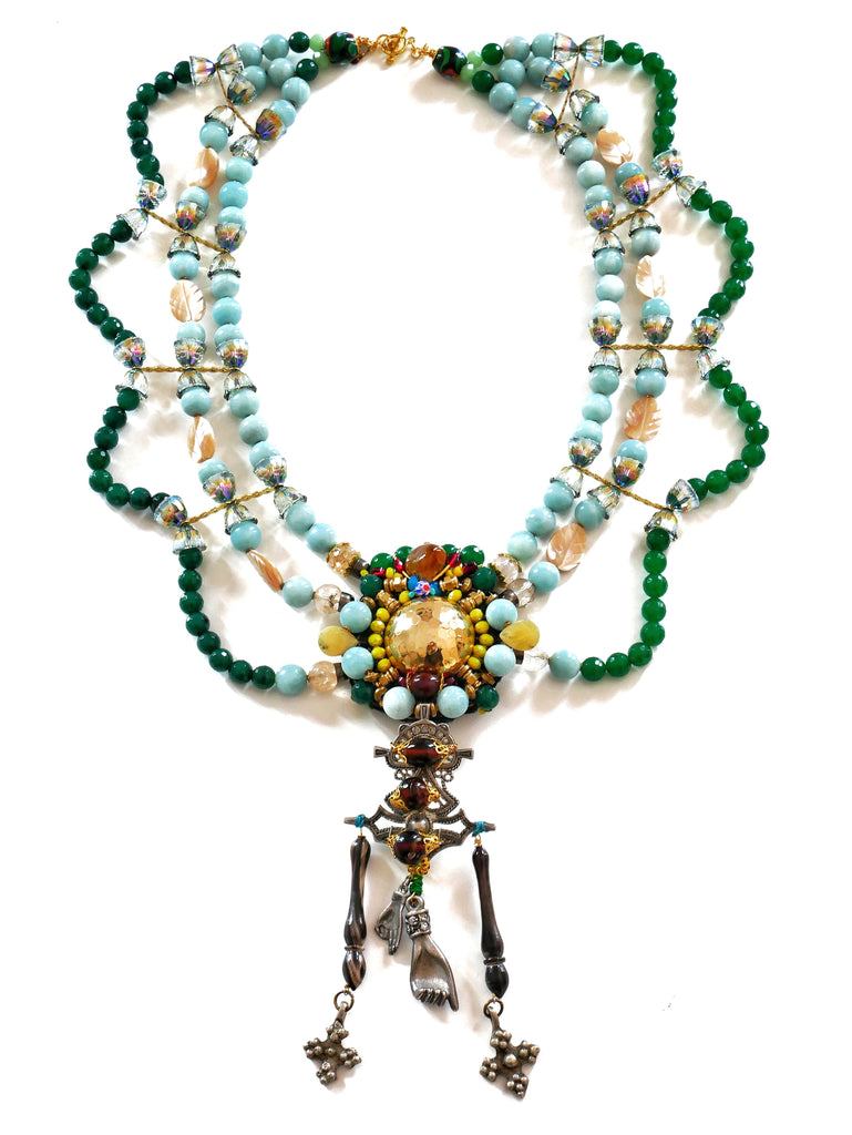Eyne Multi-Strand Embellished Gemstone And Swarovski Crystals Statement Necklace