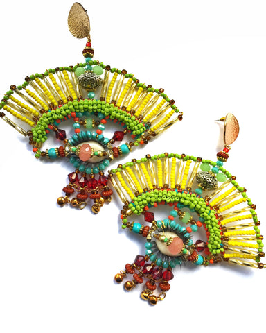Faria Beaded Fan Statement Earrings
