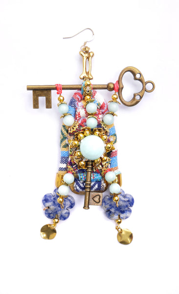 Faizah Gemstone-Embellished Key Drop Earrings