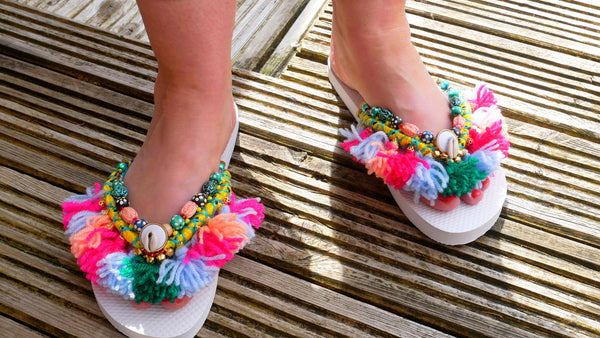 Embellished beaded tassel flip-flops