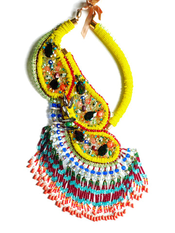Femi Swarovski-Embellished Tassel Drop Necklace