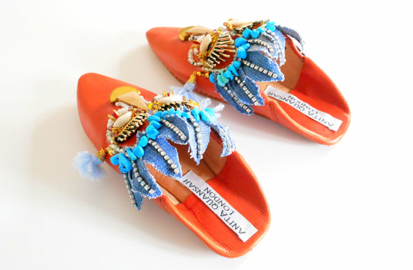 Gioia Beaded And Embellished Leather Kids Mules