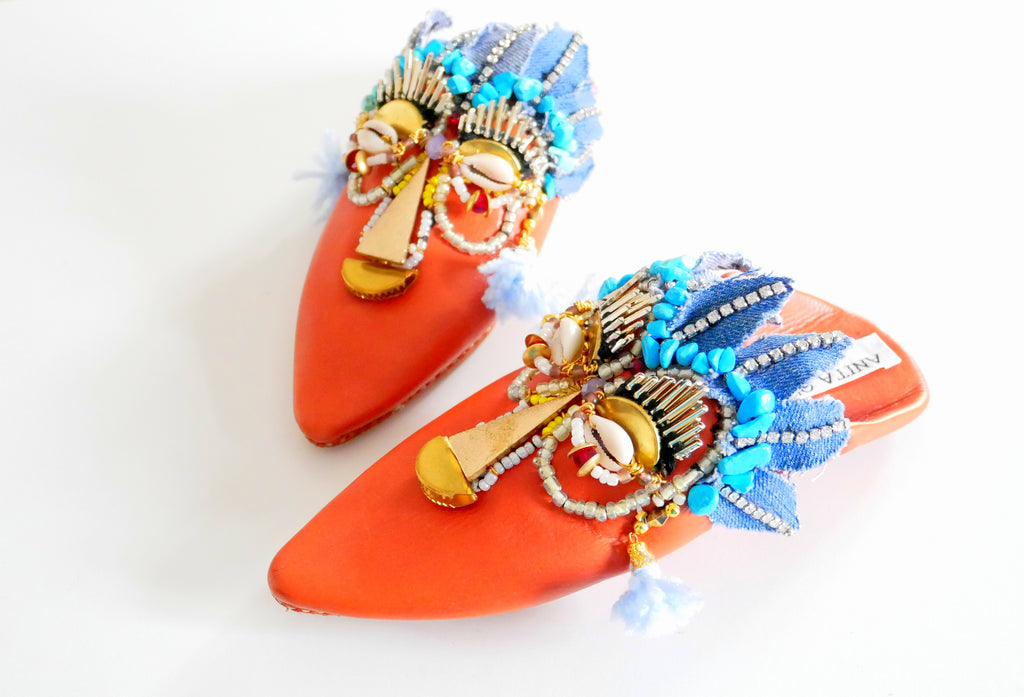 Gioia Beaded And Embellished Leather Kids Slippers
