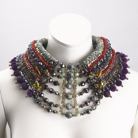 Harlyn Embellished Beaded High Collar Statement Necklace