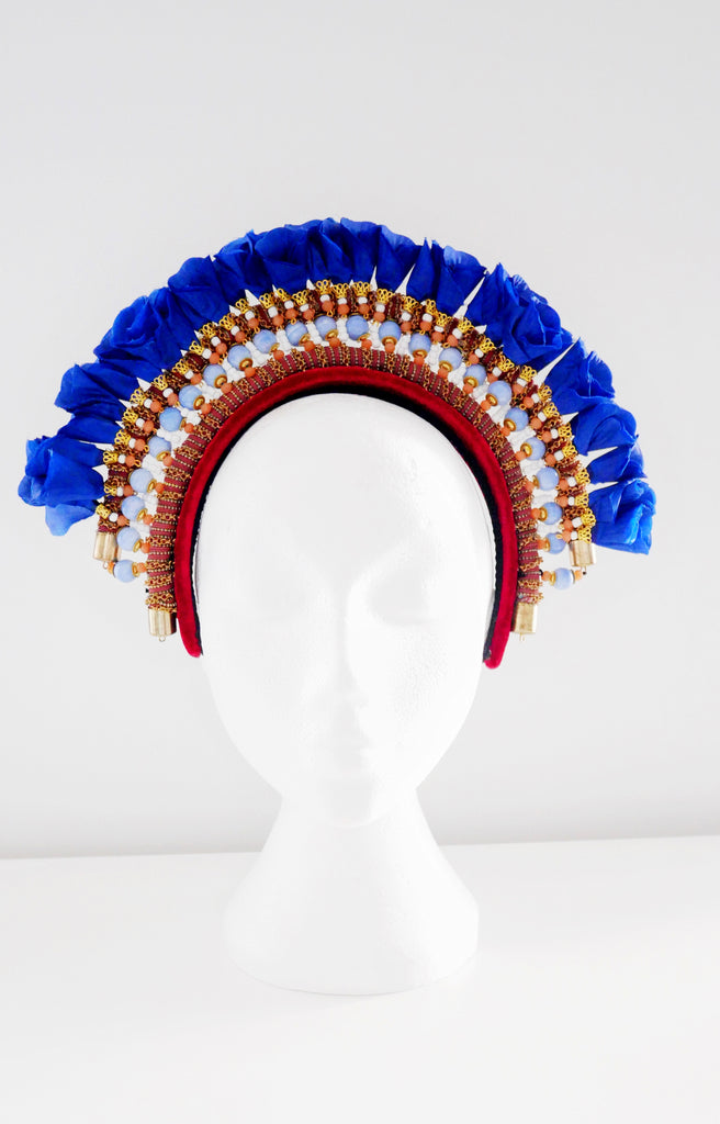 Hester Beaded Embellished Flower Velvet Headband