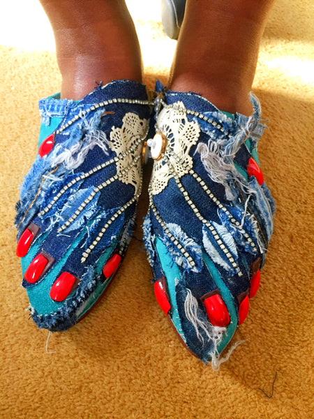 Hands On Feet Embellished, Acrylic Nails Suede Slippers