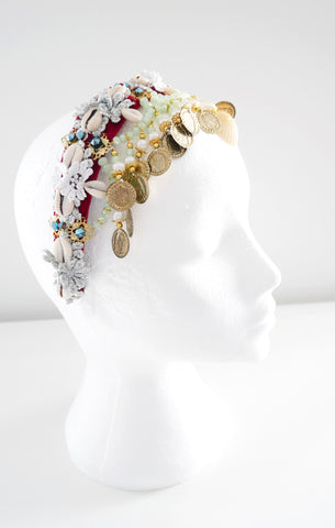 Hedone Beaded-Embellished Shell Velvet Headband by Anita Quansah London