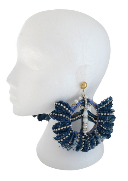 IFUNANYA DISTRESSED CRYSTAL-EMBELLISHED  DENIM PEACE EARRINGS