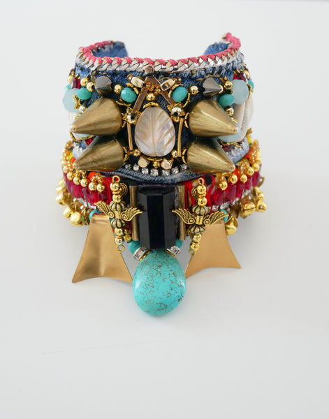 IIaria Multi- Beaded, Mother of Pearl, Turquoise, Amethyst, Denim Wide Cuff Bracelet by Anita Quansah London