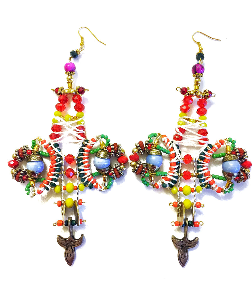 Ijele Beaded Statement Drop Earrings